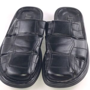 men's Black leather dress sandals
